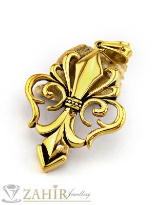 Масивен 7 см позлатен стоманен рицарски кръст на кожено колие или метална верижка, по избор - MP1055