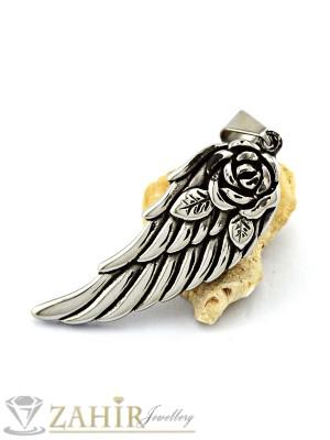 Висококачествена стоманена висулка ангелско крило 6 см на кожено колие или метална верижка, по избор - MP1057