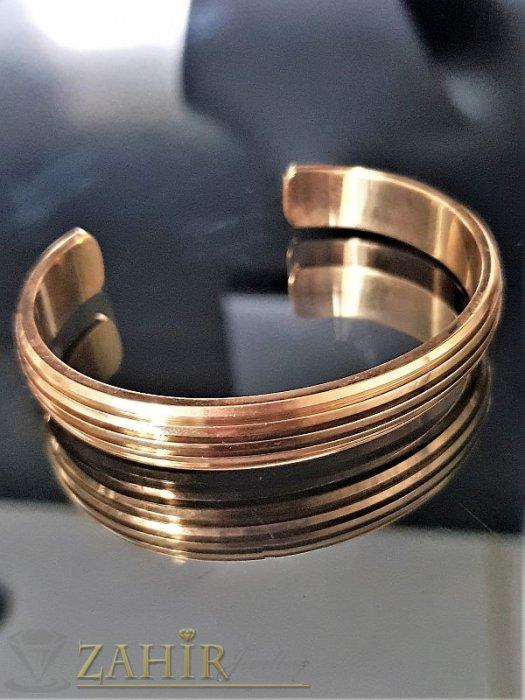 Дамски бижута - Класическа отворена гривна от стомана с гравирани елементи,диаметър 6 см, златно покритие - G1706