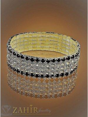 Позлатена ластична  гривна с черни и бели кристали на 5 реда, широка 2 см- G1725