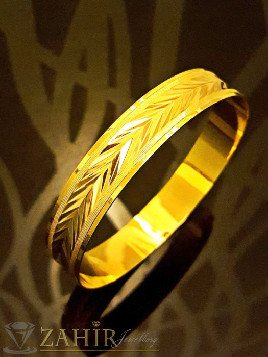 Висококачествена двойно позлатена гравирана твърда гривна в 4 размера - G1744