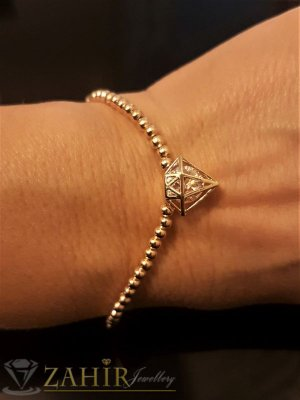 Класическа гривна тип верижка 16+5 см, с висулка кристална пирамида - 1, 5 см, златно покритие - G1766