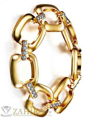 Масивна дамска гривна 19 см, с красиви заоблени елементи и кристали, широка 2 см, златно покритие - G1769