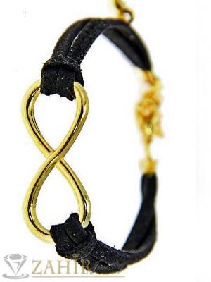 Велурена черна гривна с позлатен елемент безкрайност 17 + 5 см - G1791