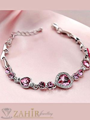 Романтична гривна с цикламени сърца и сребърно покритие, дълга 17 + 5 см - G1793