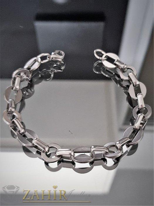 Вечна стоманена гривна тип верижка, овални елементи, регулира се до 20 см - G1809
