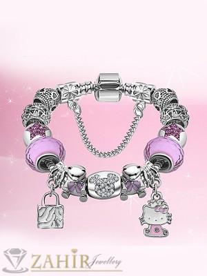 Нов модел Дизайнерска гривна с розови кристали и висулка Кити, 3 размера - G1815