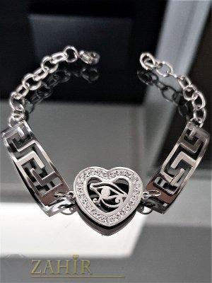Непроменяща цвета си стоманена гривна с кристали и сърце, регулира се до 20 см - G1815