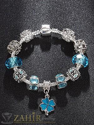 Нов модел Дизайнерска гривна със сини кристали и висулка детелина, 3 размера - G1816