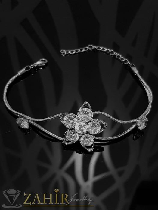 2017 г. модел гривна кристално цвете с фасетирани кристали и сребърно покритие, дълга 18 + 5 см - G1819