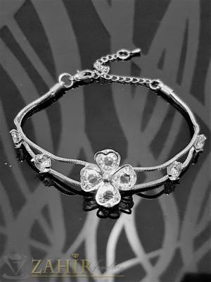 Изящно изработена гривна с кристално цвете с циркони и сребърно покритие, дълга 18 + 5 см - G1824
