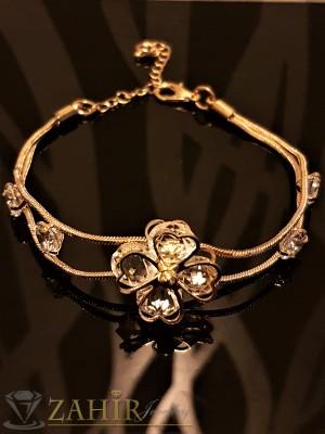 Изящно изработена гривна с кристално цвете с циркони и златно покритие, дълга 18 + 5 см - G1825
