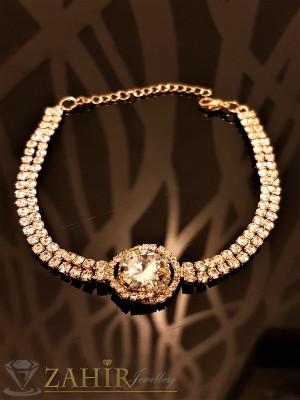 Официална гривна с 2 реда кристали голям циркон и златно покритие, дълга 18 + 5 см - G1826