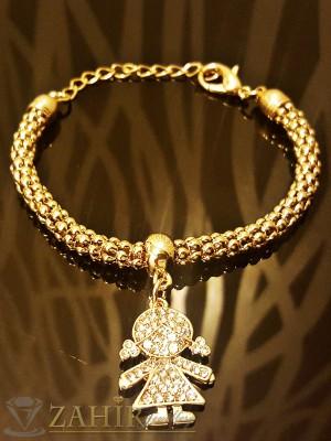 Романтична гривна с висулка кристално момиче, златно покритие - 18 +5 см дължина - G1675