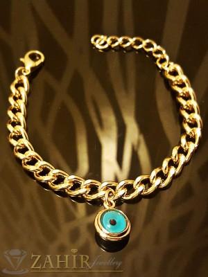Гривна тип верижка с висулка кристално синьо око, златно покритие - 16 +5 см дължина - G1676