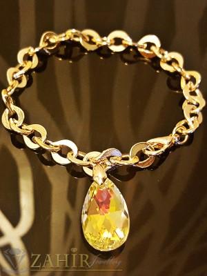 Гривна тип верижка с висулка кристал хамелеон, златно покритие - 19 см дължина - G1678