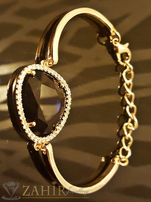 Нежна гривна тип бенгъл с голям тъмносин кристал и златно покритие - 16+6 см - G1682