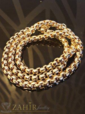 Тройна гривна тип верижка, златно покритие, 55+5 см, широка 0,6 см - G1703