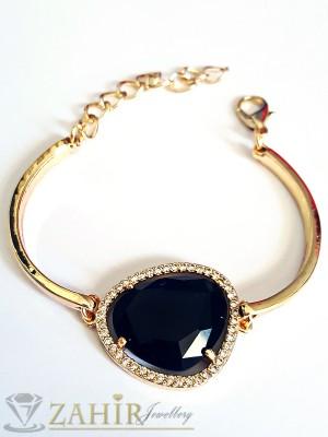 Класическа твърда гривна - 16 + 5 см с голям черен кристал - 2 см, златно покритие - G1719