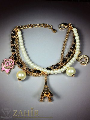 3 бр. гривни с перли, кожа и верижка с 5 романтични висулки, златно покритие, регулира се- G1724