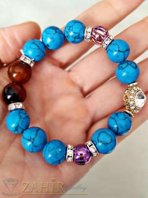 Гривна с естествени сини ахати 12 мм с кристали 18 см дълга - GA1089