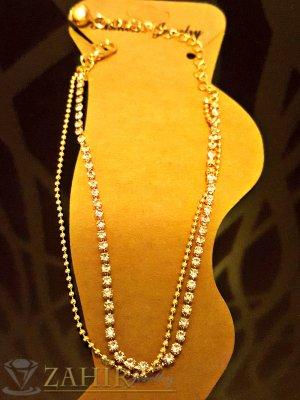 Елегантна гривна за крак, двуредна с камъчета, златно покритие, дълга 20+5 см - GK1035