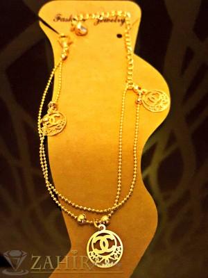 Елегантна гривна за крак с висулки шанел, златно покритие, дълга 20+5 см - GK1036