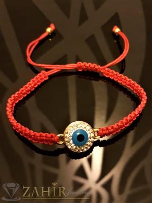 Позлатено синьо око с бели кристали на червена ръчно плетена гривна, регулираща се дължина - GU1073