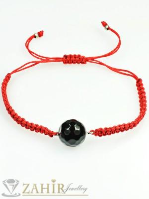 Ръчно плетена гривна против уроки с камък черен фасетиран ахат, регулираща се дължина - GU1054