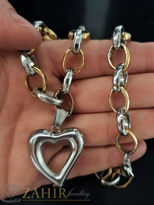Едър двуцветен стоманен ланец в 2 размера, широк 1 см с висулка сърце 2,5 см - K1529