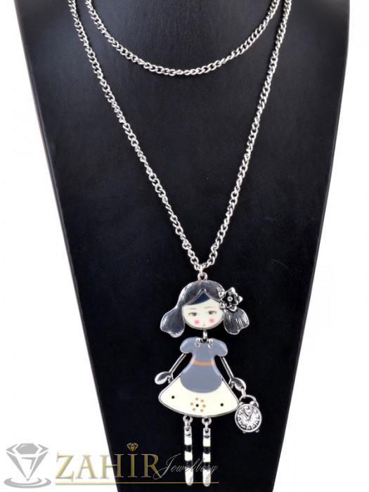 Дамски бижута - Дълго стоманено колие - 80 см с висулка рисувана кукла - 9 см - K1572