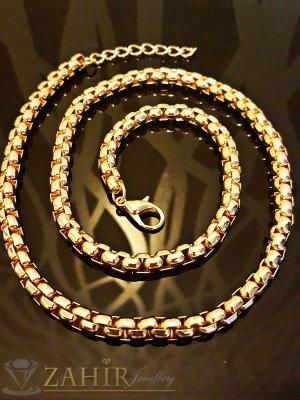 Красив позлатен стоманен ланец в 3 размера, нежни заоблени елементи, широк 0,7 см - K1497