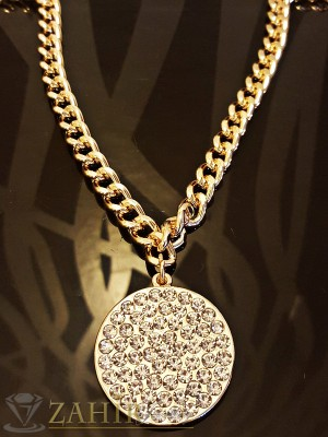 Стилен позлатен ланец - 42 + 5 см, с висулка плочка с кристали - 3 см, класическа плетка - K1504