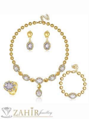 Луксозен комплект с бели кристали, колие 40+5 см, гривна 18+5 см, обеци 3 см и регулиращ се пръстен - KO1615