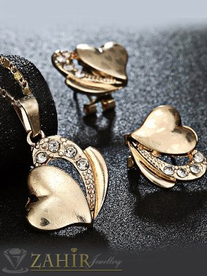 Романтичен комплект сърца, колие 44 см с висулка 2,5 см и обеци 1,5 см, златно покритие - KO1629