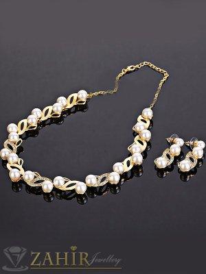 Официален перлен комплект, колие 50+10 см и обеци 4 см, синтенични перли, златно покритие - KO1633