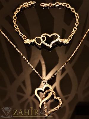 Романтичен комплект с преплетени сърца, колие 45 см и гривна 22 см, златно покритие - KO1685