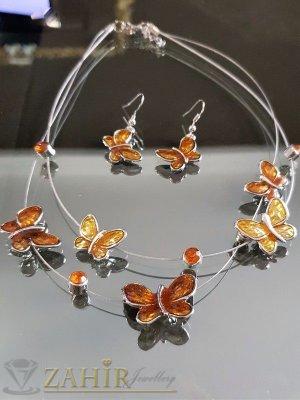 Високо качество емайлиран комплект с бронзови пеперуди, колие 40 + 5 см и обеци 4 см - KO1695