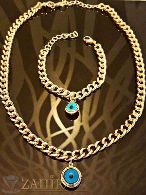 Уникален ланец - 42 + 5 см и гривна - 18 + 5 см с кристални сини очи, златно покритие - KO1578