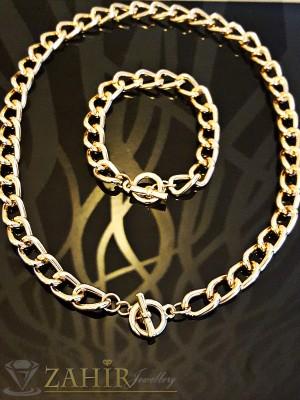 Стилен комплект ланец - 42 см и гривна - 19 см, класическа плетка, златно покритие - KO1579