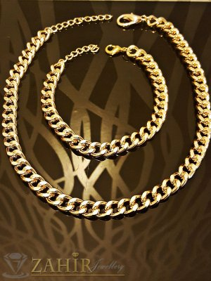 Класически комплект ланец - 42 + 5 см и гривна - 18 + 5 см, златно покритие - KO1580