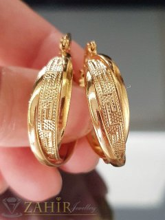 Гравирани халки 3 см с гръцки мотиви, златно покритие, английско закопчаване, печат- O2034