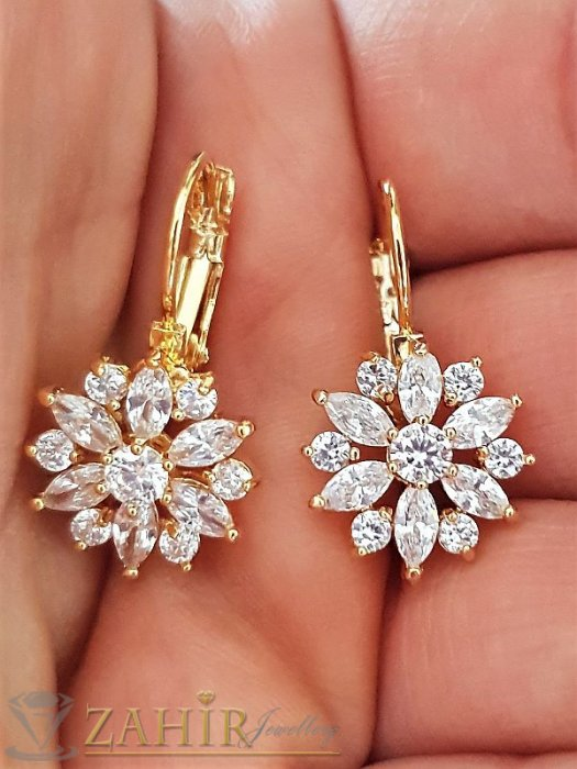 Блестящи обеци - Блестящи обеци 2,5 см - цветя, обсипани с многобройни бели кристали, златно покритие - O2036