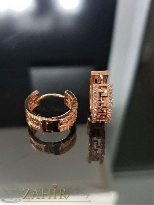Искрящи кристални обеци - 2 см с 2 лица, кристали, златно покритие, англ. закопчаване- O2039