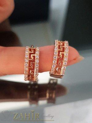 Искрящи кристални обеци - 2 см с 2 лица, кристали, златно покритие, англ. закопчаване - O2039