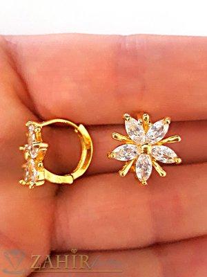 Нежни малки обеци, 1,3 см с блестящи циркони, английско закопчаване, златно покритие - O2101