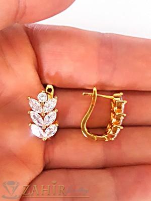 Нежни малки обеци, 1,5 см с блестящи циркони, английско закопчаване, златно покритие - O2102