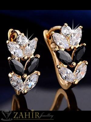 Нежни обеци - 2 см с блестящи бели и черни кристали, златно покритие, английско закопчаване - O2107