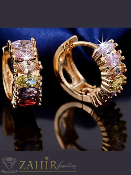 Дамски бижута - Изящна изработка обеци - 1,7 см с многоцветни кристали, златно покритие, английско закопчаване - O2109