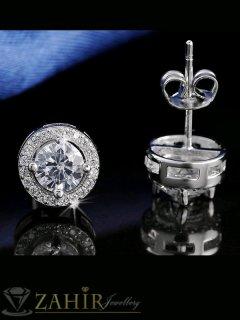 Малки обеци 0,8 см с великолепен циркон, изящна изработка от стомана, на винт - O2111